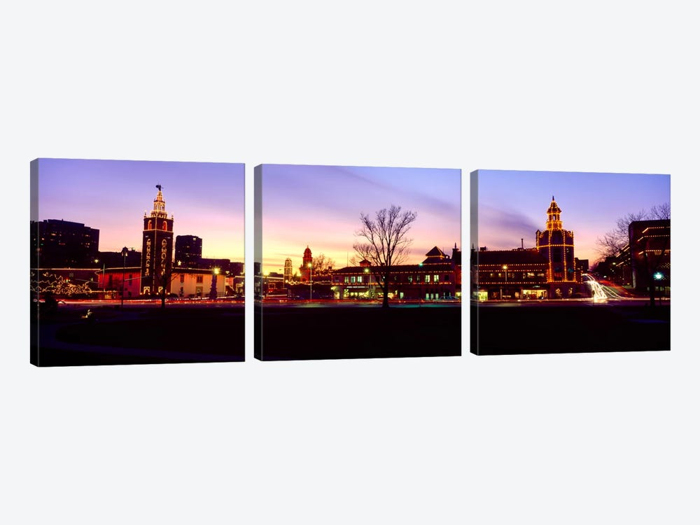 Buildings in a city, Country Club Plaza, Kansas City, Jackson County, Missouri, USA by Panoramic Images 3-piece Canvas Art