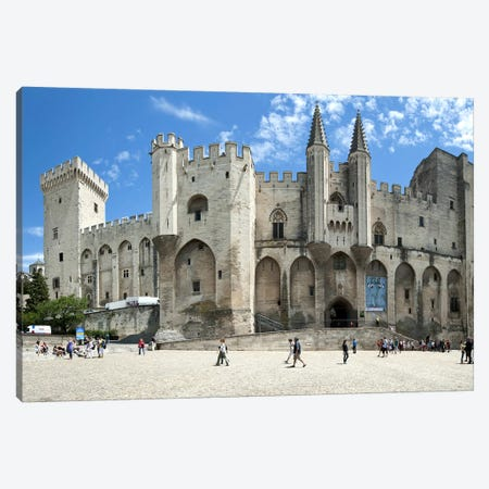 People in front of a palace, Palais des Papes, Avignon, Vaucluse, Provence-Alpes-Cote d'Azur, France Canvas Print #PIM9881} by Panoramic Images Canvas Wall Art