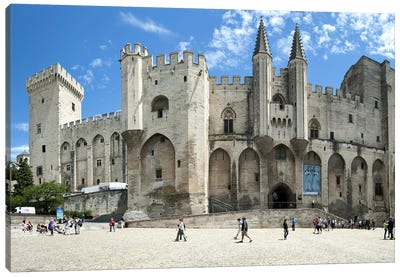 People in front of a palace, Palais des Papes, Avignon, Vaucluse, Provence-Alpes-Cote d'Azur, France Canvas Art Print