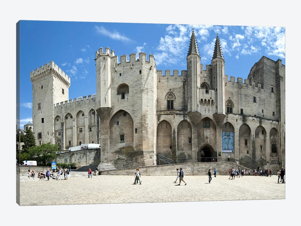 People in front of a palace, Palais des Papes, Avignon, Vaucluse, Provence-Alpes-Cote d'Azur, France 1-piece Art Print