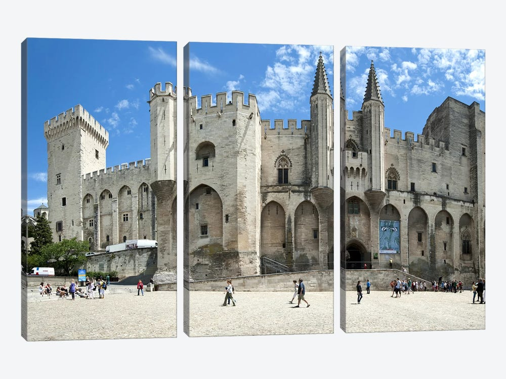People in front of a palace, Palais des Papes, Avignon, Vaucluse, Provence-Alpes-Cote d'Azur, France 3-piece Canvas Print