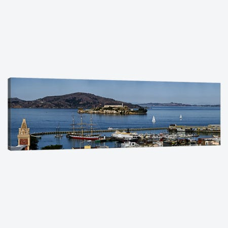 Prison on an island, Alcatraz Island, Aquatic Park Historic District, Fisherman's Wharf, San Francisco, California, USA Canvas Print #PIM9885} by Panoramic Images Canvas Art Print