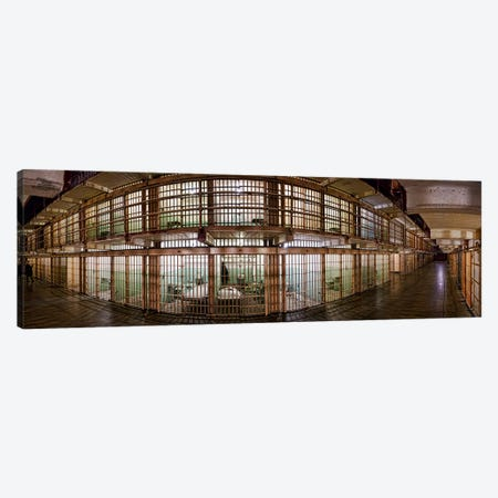 180 degree view of the corridor of a prison, Alcatraz Island, San Francisco, California, USA Canvas Print #PIM9886} by Panoramic Images Canvas Art Print