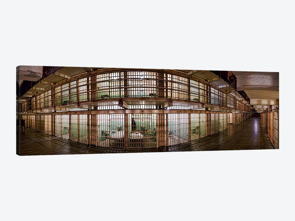 180 degree view of the corridor of a prison, Alcatraz Island, San Francisco, California, USA by Panoramic Images 1-piece Canvas Wall Art