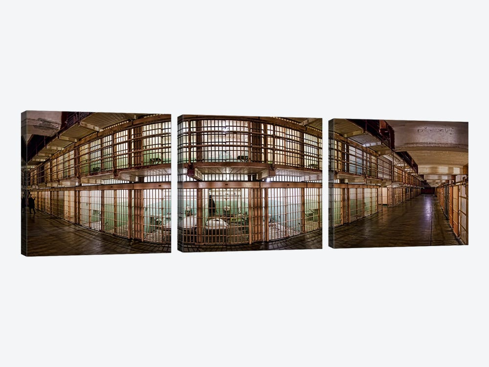 180 degree view of the corridor of a prison, Alcatraz Island, San Francisco, California, USA by Panoramic Images 3-piece Canvas Art