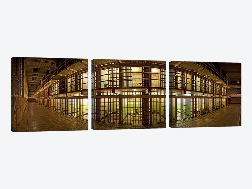 Prison cells, Alcatraz Island, San Francisco, California, USA by Panoramic Images 3-piece Art Print