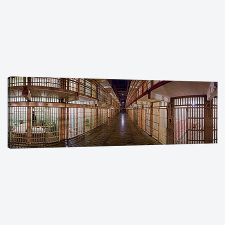 Corridor of a prison, Alcatraz Island, San Francisco, California, USA Canvas Print #PIM9888} by Panoramic Images Canvas Wall Art