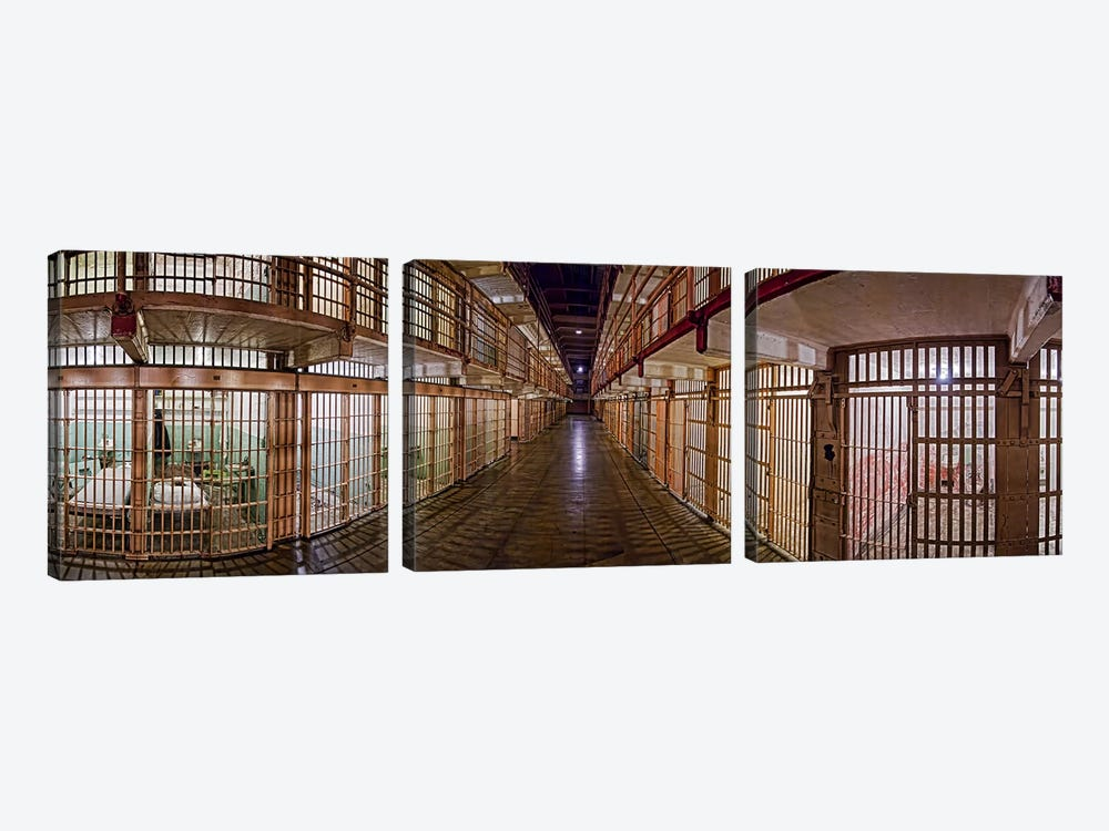 Corridor of a prison, Alcatraz Island, San Francisco, California, USA by Panoramic Images 3-piece Canvas Art