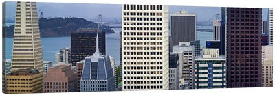 Skyscrapers in the financial district with the bay bridge in the background, San Francisco, California, USA 2011 Canvas Print #PIM9890