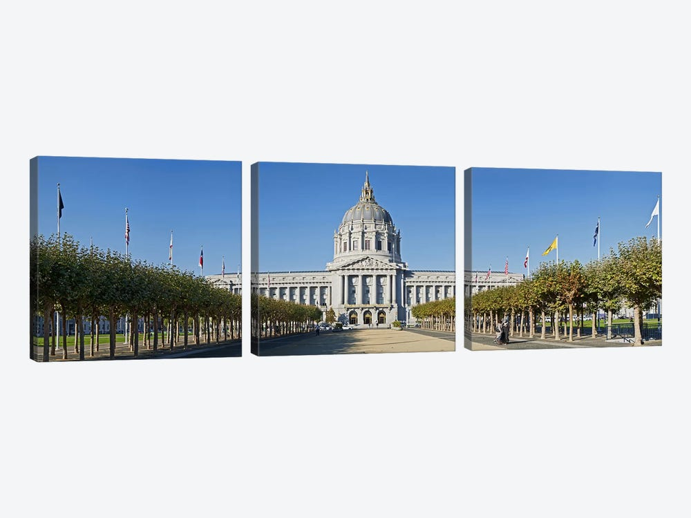 Facade of the Historic City Hall near the Civic Center, San Francisco, California, USA by Panoramic Images 3-piece Canvas Wall Art