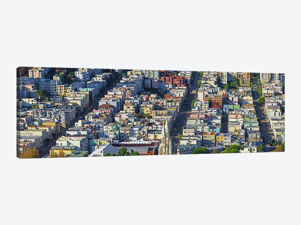 Buildings in a city viewed from the Coit tower of Russian Hill, San Francisco, California, USA by Panoramic Images 1-piece Art Print