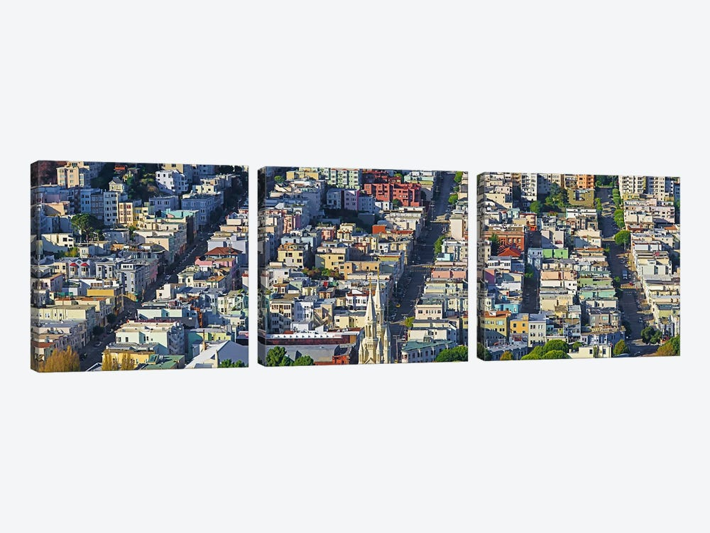 Buildings in a city viewed from the Coit tower of Russian Hill, San Francisco, California, USA by Panoramic Images 3-piece Canvas Print