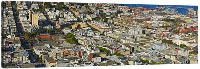 Aerial view of buildings in a city, Columbus Avenue and Fisherman's Wharf, San Francisco, California, USA Canvas Art Print