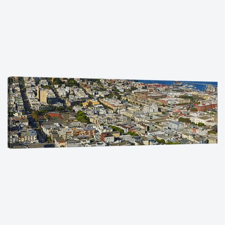 Aerial view of buildings in a city, Columbus Avenue and Fisherman's Wharf, San Francisco, California, USA Canvas Print #PIM9893} by Panoramic Images Art Print
