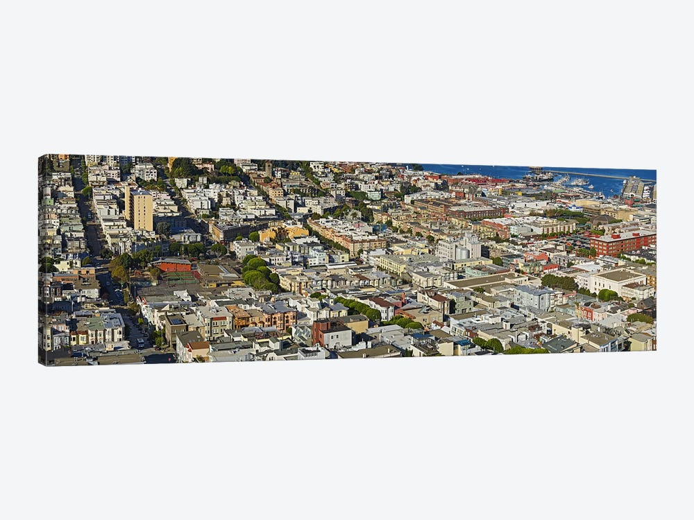 Aerial view of buildings in a city, Columbus Avenue and Fisherman's Wharf, San Francisco, California, USA by Panoramic Images 1-piece Canvas Wall Art