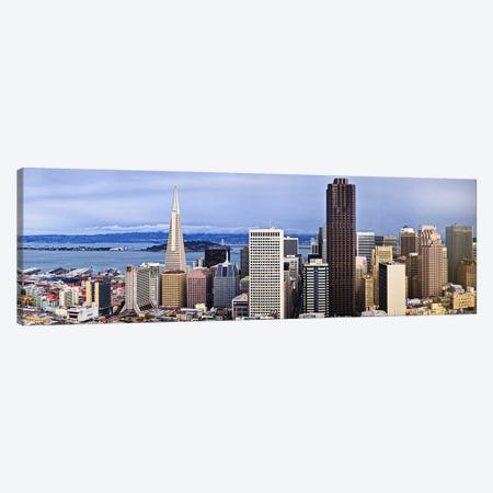 Skyscrapers in the city with the Oakland Bay Bridge in the background, San Francisco, California, USA 2011 Canvas Print #PIM9896} by Panoramic Images Canvas Artwork