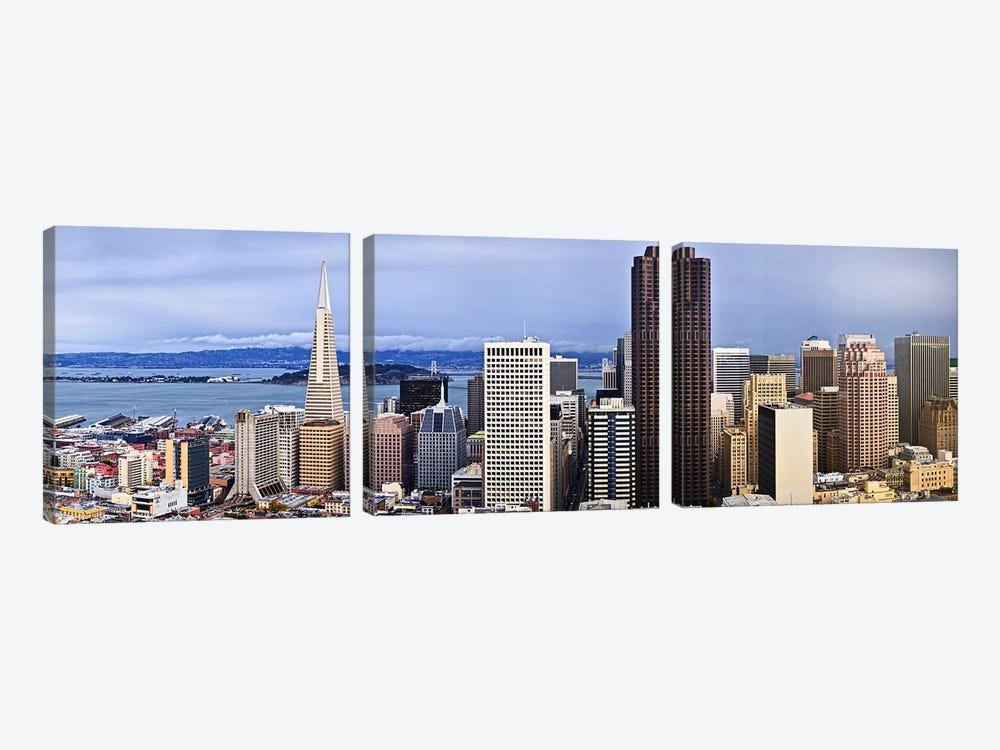Skyscrapers in the city with the Oakland Bay Bridge in the background, San Francisco, California, USA 2011 by Panoramic Images 3-piece Canvas Print