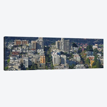 Aerial view of buildings in a city, Russian Hill, Lombard Street and Crookedest Street, San Francisco, California, USA Canvas Print #PIM9898} by Panoramic Images Art Print