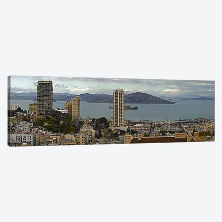 Buildings in a city with Alcatraz Island in San Francisco Bay, San Francisco, California, USA Canvas Print #PIM9899} by Panoramic Images Art Print