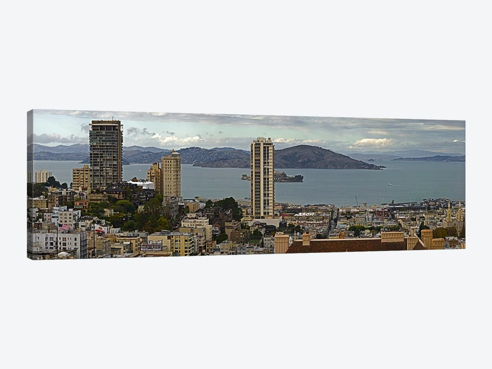 Buildings in a city with Alcatraz Island in San Francisco Bay, San Francisco, California, USA by Panoramic Images 1-piece Canvas Wall Art