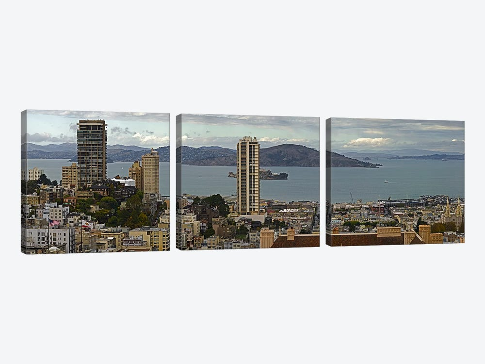 Buildings in a city with Alcatraz Island in San Francisco Bay, San Francisco, California, USA by Panoramic Images 3-piece Canvas Wall Art