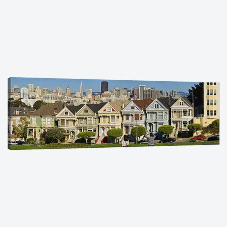 Famous row of Victorian Houses called Painted Ladies, San Francisco, California, USA 2011 Canvas Print #PIM9901} by Panoramic Images Art Print