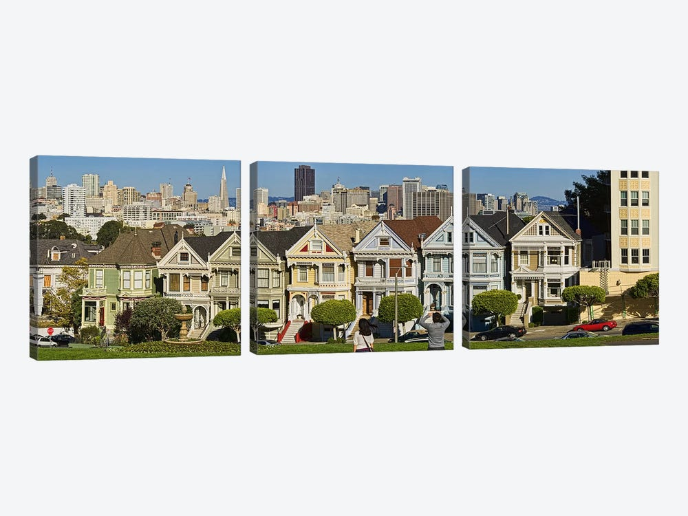 Famous row of Victorian Houses called Painted Ladies, San Francisco, California, USA 2011 by Panoramic Images 3-piece Canvas Artwork