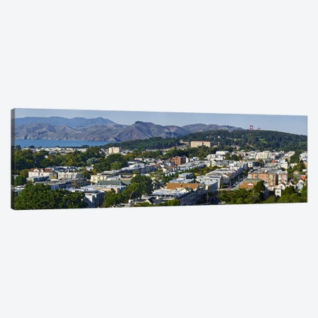 Entrance to San Francisco Harbor, Golden Gate Bridge Towers visible above the Presidio, San Francisco, California, USA Canvas Print #PIM9902} by Panoramic Images Art Print