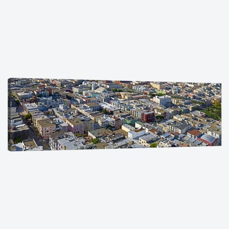 Aerial view of colorful houses near Washington Square and Columbus Avenue, San Francisco, California, USA Canvas Print #PIM9903} by Panoramic Images Canvas Print
