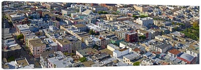 Aerial view of colorful houses near Washington Square and Columbus Avenue, San Francisco, California, USA Canvas Art Print