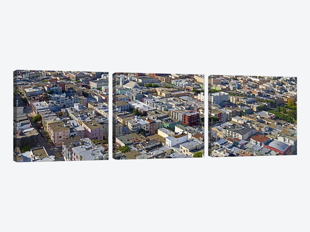 Aerial view of colorful houses near Washington Square and Columbus Avenue, San Francisco, California, USA by Panoramic Images 3-piece Canvas Art