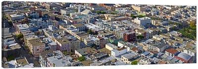 Aerial view of colorful houses near Washington Square and Columbus Avenue, San Francisco, California, USA Canvas Art Print