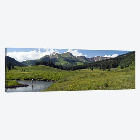 Lone Fly-Fisherman, Slate River, Gunnison County, Colorado, USA Canvas Print #PIM9911} by Panoramic Images Canvas Artwork