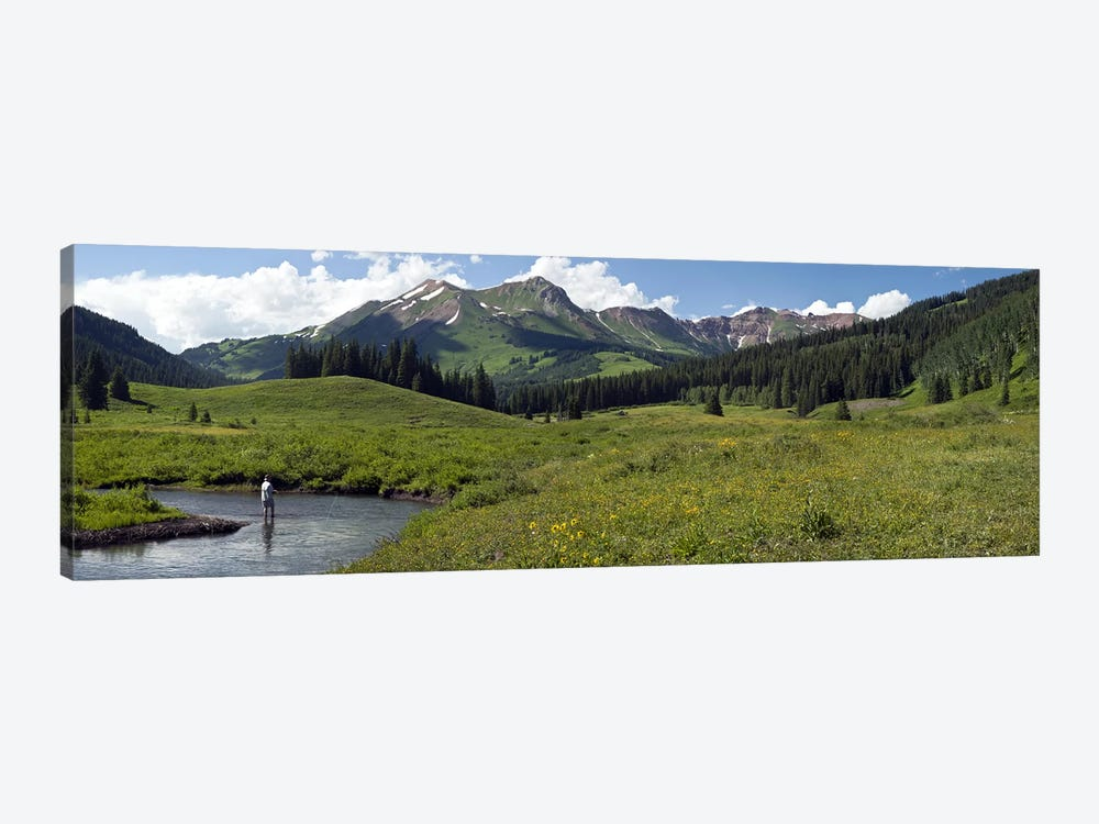 Lone Fly-Fisherman, Slate River, Gunnison County, Colorado, USA by Panoramic Images 1-piece Canvas Art Print