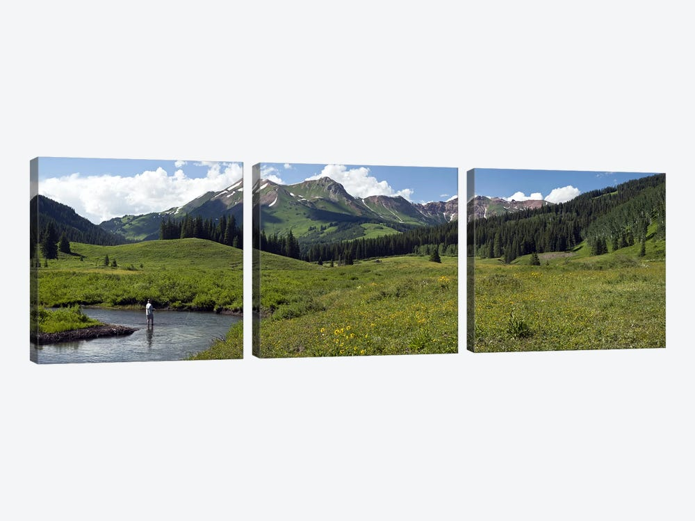 Lone Fly-Fisherman, Slate River, Gunnison County, Colorado, USA by Panoramic Images 3-piece Canvas Art Print