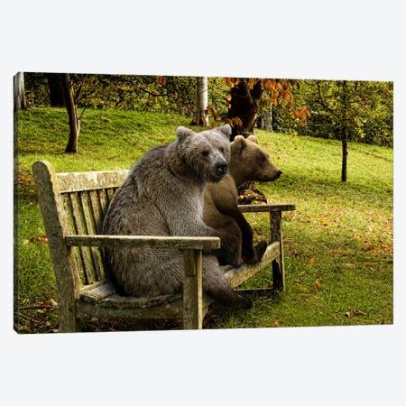 Bears sitting on a bench Canvas Print #PIM9918} by Panoramic Images Canvas Wall Art