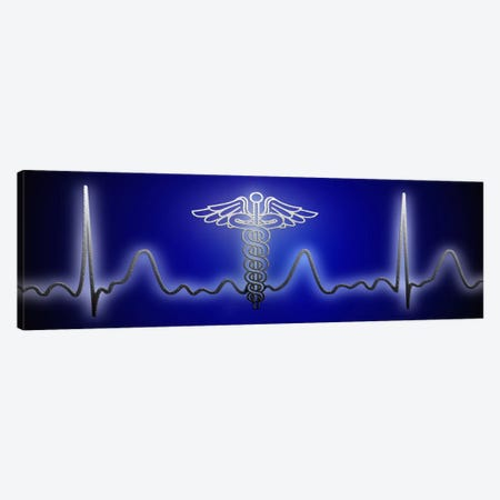 EKG with Caduceus symbol Canvas Print #PIM9923} by Panoramic Images Art Print