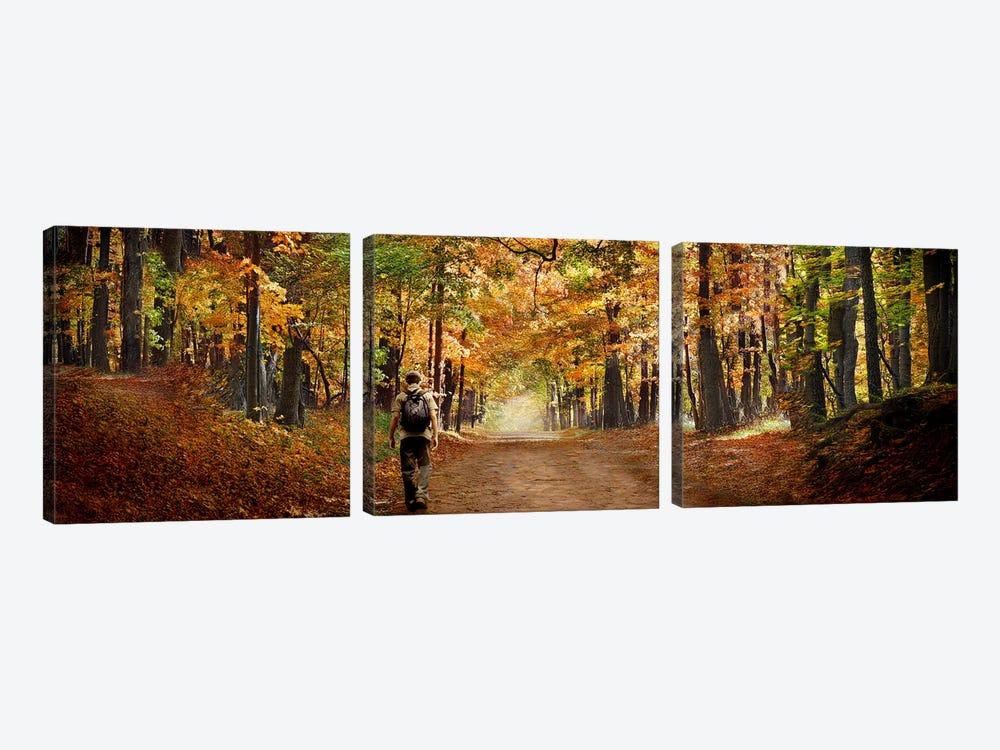 Kid with backpack walking in fall colors 3-piece Canvas Print