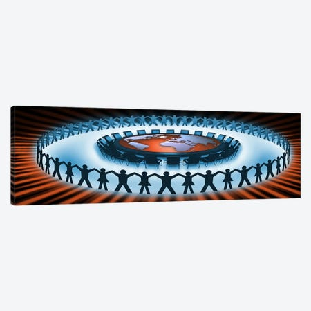Circle of people around a table of world map Canvas Print #PIM9928} by Panoramic Images Canvas Print
