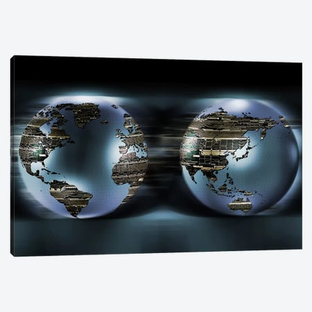 Two sides of earths made of digital circuits Canvas Print #PIM9929} by Panoramic Images Art Print