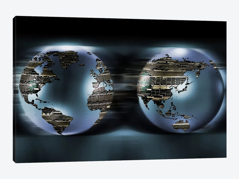 Two sides of earths made of digital circuits by Panoramic Images 1-piece Canvas Artwork