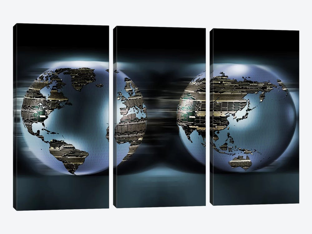Two sides of earths made of digital circuits by Panoramic Images 3-piece Canvas Artwork