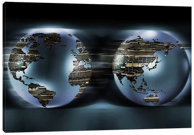 Two sides of earths made of digital circuits Canvas Art Print