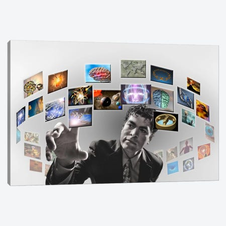 Man surrounded by imagery Canvas Print #PIM9932} by Panoramic Images Canvas Artwork