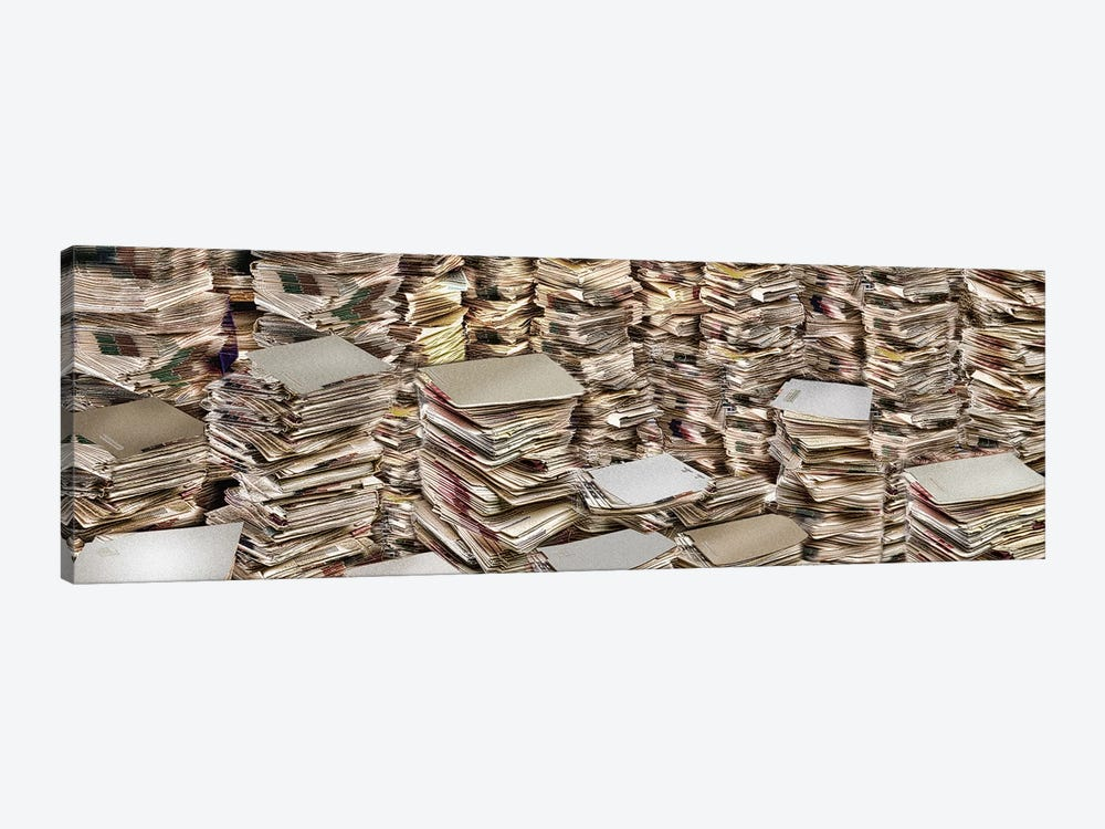 Stacks of files by Panoramic Images 1-piece Canvas Art Print