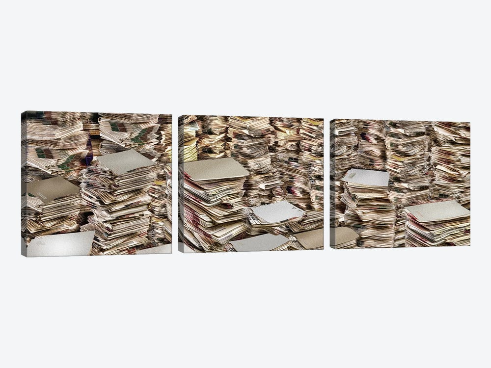 Stacks of files by Panoramic Images 3-piece Art Print