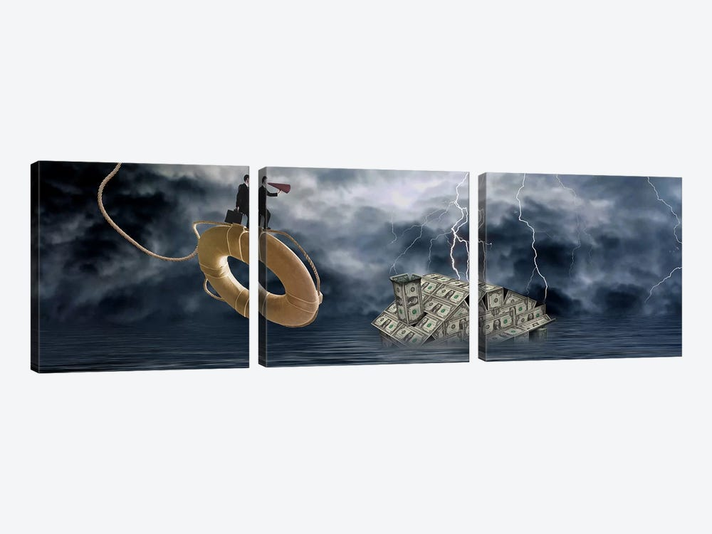 Money house under water by Panoramic Images 3-piece Canvas Artwork