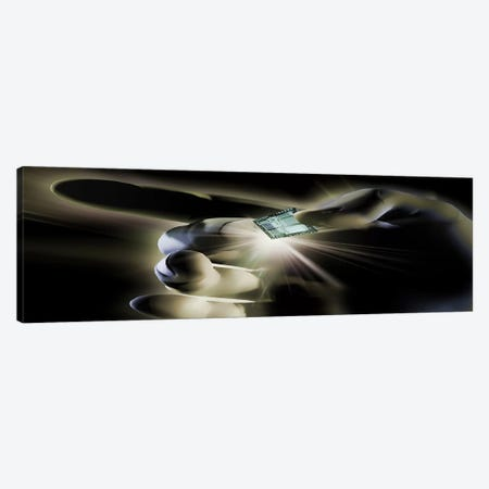 Close-up of a person's hand holding micro chip Canvas Print #PIM9935} by Panoramic Images Canvas Print
