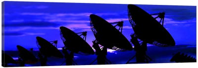 Silhouette of satellite dishes Canvas Art Print