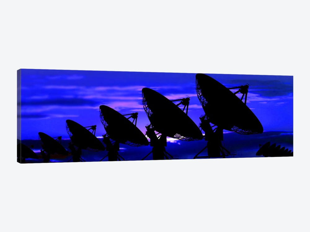 Silhouette of satellite dishes by Panoramic Images 1-piece Canvas Art Print